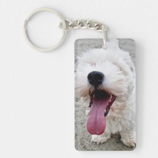 Happy Puppy white dog, malteese, maltipoo. Double-Sided Rectangular Acrylic Key Ring