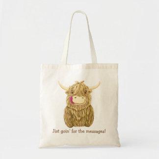 Happy Scottish Highland Cow Budget Tote Bag