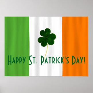 Happy St. Patrick's Day Irish Flag Shamrock Paddy Poster