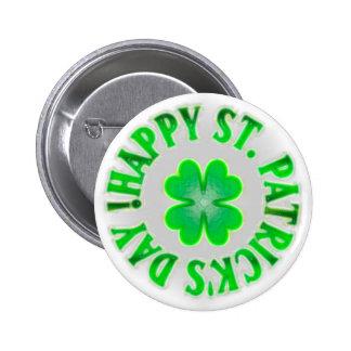 Happy St. Patrick's Day! Vintage Shamrock 6 Cm Round Badge