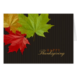 Happy Thanksgiving Colorful Maple Leaves card