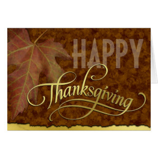 Happy Thanksgiving-Golden Greeting Card