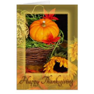 Happy Thanksgiving pumpkins & sunflowers card