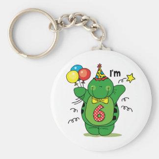 Happy Turtle 6th Birthday Basic Round Button Key Ring
