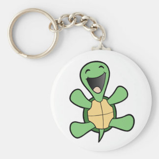Happy Turtle Basic Round Button Key Ring