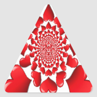 Happy Valentine Big Red Hearts Triangle Sticker
