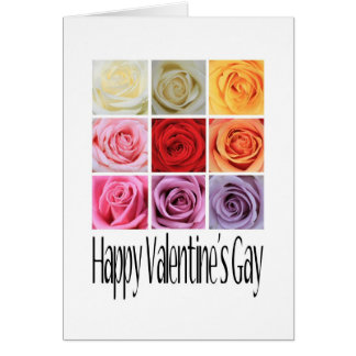 Happy Valentine's Gay, Rainbow Roses Greeting Card