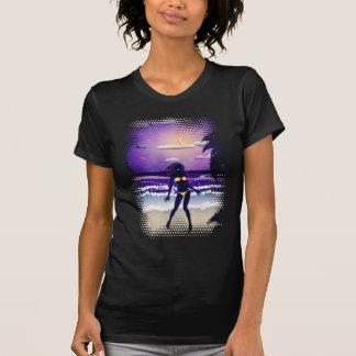 Happy woman on night beach shirts