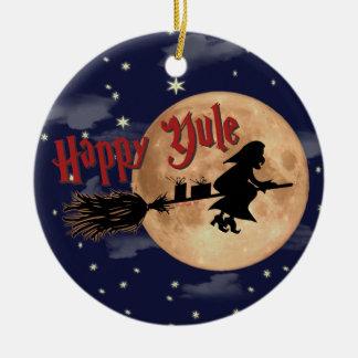 Happy Yule Witch Xmas Ornaments