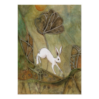Hare with Standing Stones Poster
