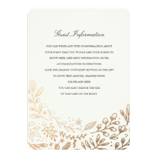 Harvest Flowers Directions/Information Card 11 Cm X 16 Cm Invitation Card