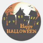Haunted Houses Happy Halloween Round Sticker