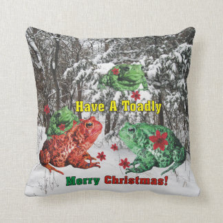 Have a Toadly Merry Christmas Throw Cushions