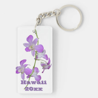 Hawaii Orchids purple and white Double-Sided Rectangular Acrylic Key Ring