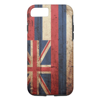 Hawaii State Flag on Old Wood Grain iPhone 7 Case