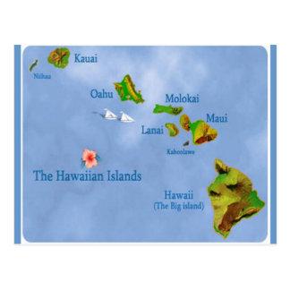 Hawaiian Island Map postcard