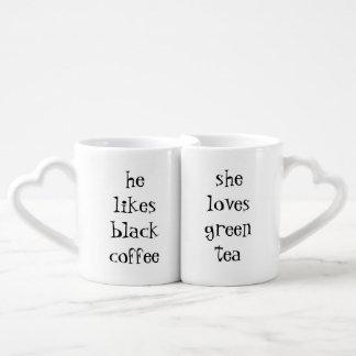 he likes black coffee...she loves green tea lovers mug