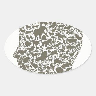 Head an animal oval sticker