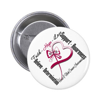 Head and Neck Cancer Faith Hope Love Butterfly 6 Cm Round Badge