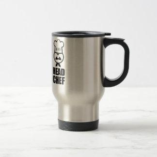 Head chef face & hat black design stainless steel travel mug