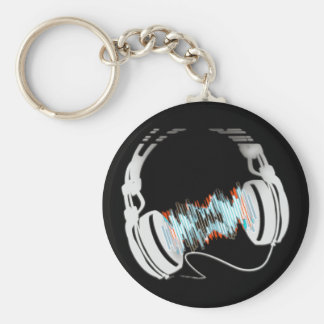 Headphones Basic Round Button Key Ring