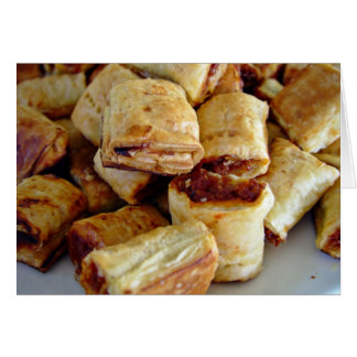 Heaps of sausage rolls greeting card