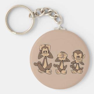 Hear No Evil, See No Evil, Speak No Evil Monkeys Basic Round Button Key Ring
