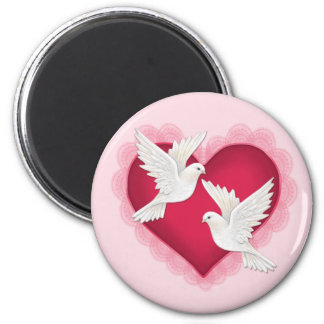 Heart and Doves - Pink 6 Cm Round Magnet