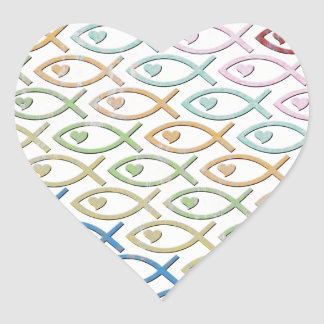 HEART-EYED JESUS FISH HEART STICKER