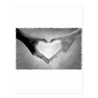 Heart Hands B&W Photo Postcard