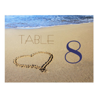Heart in Sand Table Number Cards Postcard