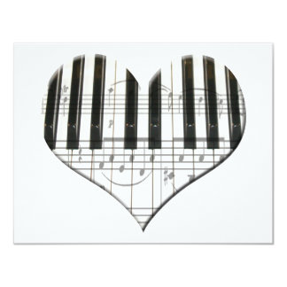 Heart Piano Keyboard and Music Notes 11 Cm X 14 Cm Invitation Card