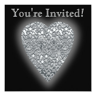 Heart. Printed Light Gray and Mid Gray Pattern. 13 Cm X 13 Cm Square Invitation Card
