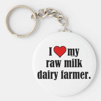 Heart Raw Milk Farmer Basic Round Button Key Ring