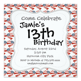 Heart Shape and the American Flag Pattern 13 Cm X 13 Cm Square Invitation Card