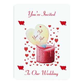 heart shaped buring flame romantic white wedding 17 cm x 22 cm invitation card