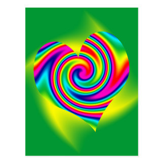 Heart Shaped Rainbow Twirl Postcard