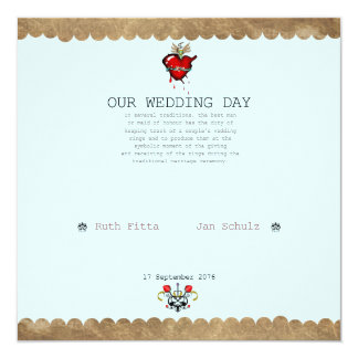 HEART WEDDING 13 CM X 13 CM SQUARE INVITATION CARD