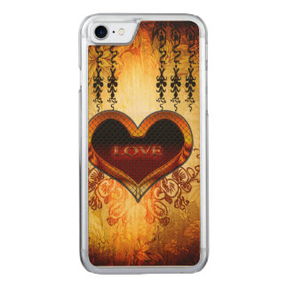 Heart with the word love carved iPhone 7 case