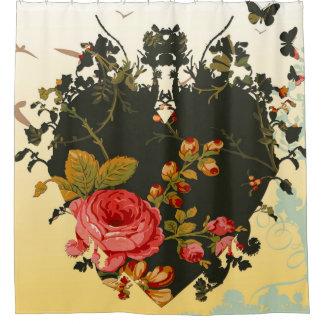 Hearts Ease Floral Vintage Art Shower Curtain
