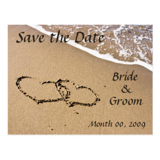 Hearts in the Sand Save the Date Postcards