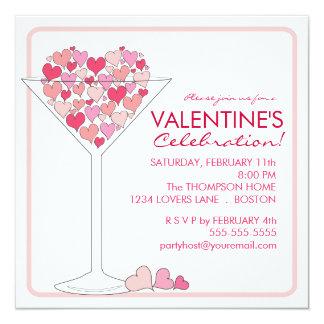 Hearts Martini Valentines Day Party Invitation