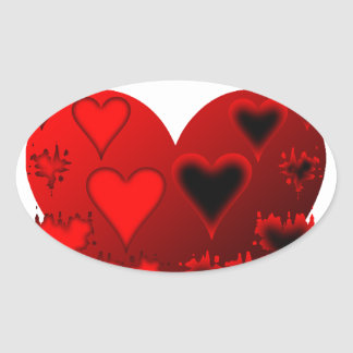 Hearts Oval Sticker