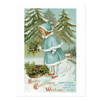 Hearty Christmas Wishes Vintage Postcard