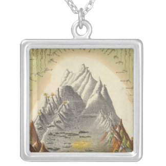 Heights Of The Principal Mountains In The World 2 Square Pendant Necklace