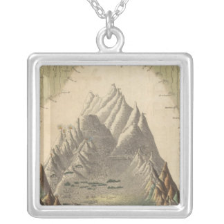 Heights Of The Principal Mountains In The World Square Pendant Necklace