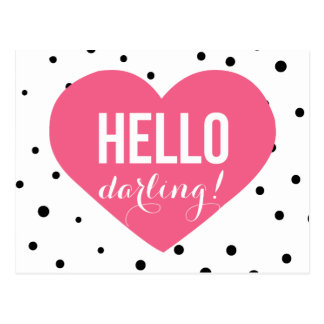 Hello Darling   Polka Dots Greeting Postcard