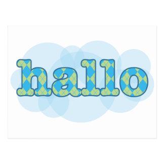 Hello in afrikaans hallo with argyle pattern postcard