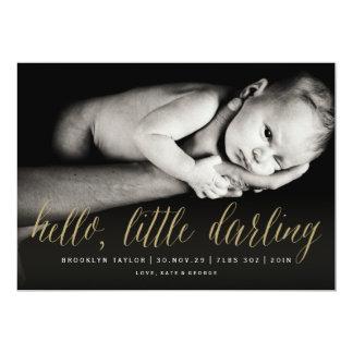 Hello Little Darling Photo Birth Announcement Card