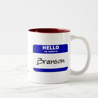 Hello My Name Is Branson (Blue) Two-Tone Mug